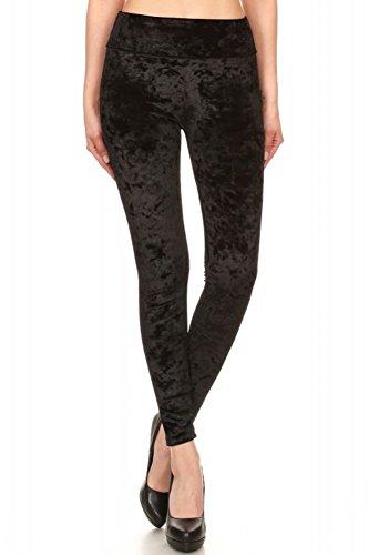 Shosho Womens Shiny Crushed Velvet Leggings Pants With Pockets Black Medium