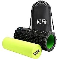 VLFit 2-en-1 Rodillo de Espuma para Músculos y Masajes de Tejidos Profundos Perfecto para aliviar el dolor Pilates Yoga y Gimnasio Ligero 33cm x 14cm musculación + ¡Estuche de deportes gratis!