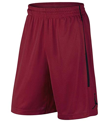 NIKE Air Jordan Mens Double Crossover Jumpman Basketball Shorts Red/Black (Large)