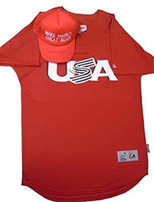 Donald Trump Autographed / Signed USA Baseball Jersey (Size 44) w/ Proof Photo Accompanied by Make America Great Again Trucker Style Baseball Hat, COA