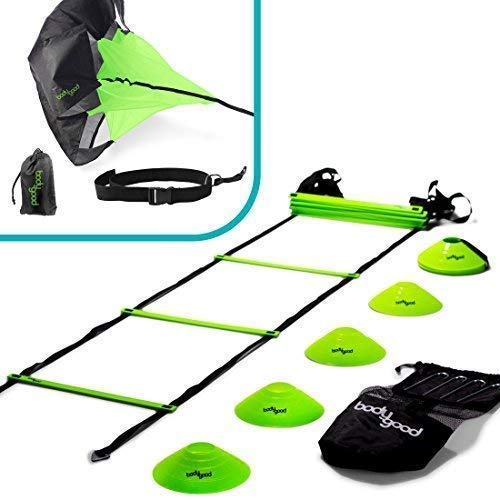 BodyGood Speed & Agility Training Set. Includes Agility Ladder, Resistance Running Parachute, 15 Sports Cones & Bag. Use Equipment to Improve Footwork Any Sport. Comes Instructional PDF