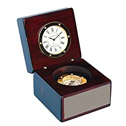 Engraved Piano Finished Mahogany Desk Clock with Magnetic Compass