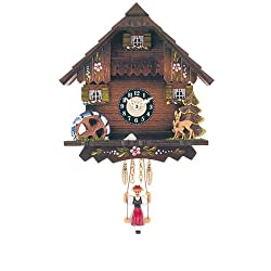 Miniature Quartz Swinging Doll Black Forest Clock House, 7 Inch