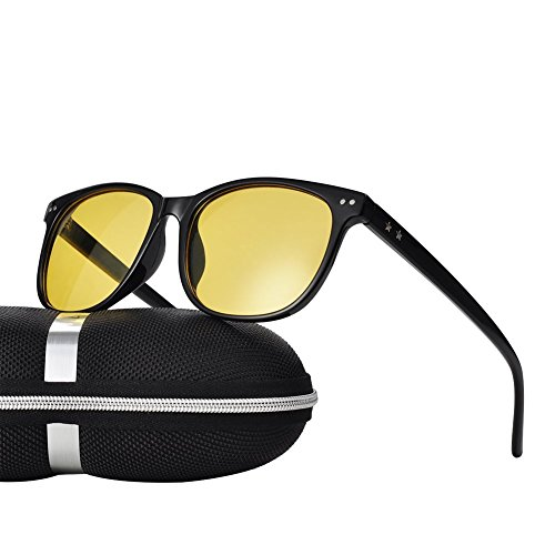 (Night Vision Driving Glasses Polarized Anti-glare Clear Sun Glasses Men & Women Fashion (Black-1, 56))