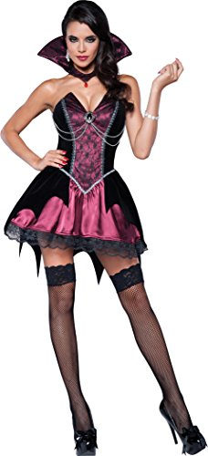 Women's Vamp Vampiress Costume, Black/Fuchsia