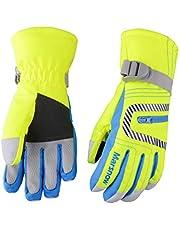 Azarxis Kids Waterproof Ski Snowboard Gloves, Children Winter Thermal Warm Snow Gloves with Zipper Pocket for Boys, Girls