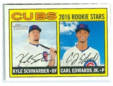 Kyle Schwarber and Carl Edwards Jr baseball card (Chicago Cubs) 2016 Topps Heritage #161 Rookie Stars