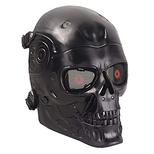 (A&N Airsoft Full Face Terminator Skeleton Skull Mask Metal Eye Mesh Protection Black / Party Dress Up Costume Halloween Movie)