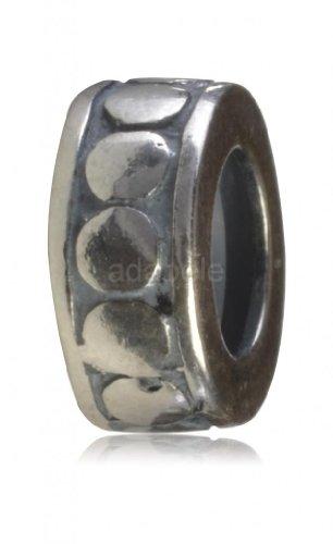 925 Sterling Silver Oxidized Rubber Stopper Bead Fits Pandora Biagi Troll Chamilla European Charm EC120