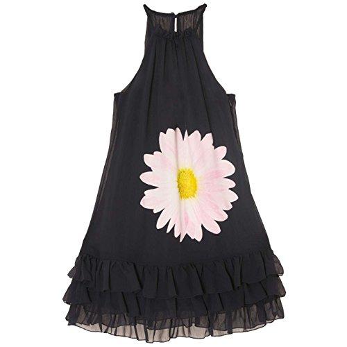 Miss Wear Line - Robe marine sans manches, à fine bretelles avec bas ondulé et motif fleur