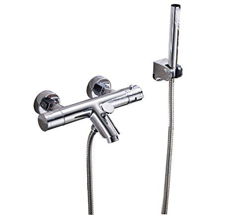 Aquafaucet Thermostatic Shower Diverter Valve Bathroom Shower Faucet Shower Mixer Tap Wall Mount Chrome by Aquafaucet