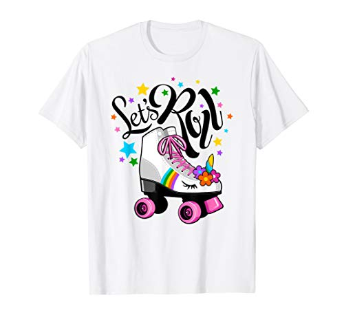 Let's Roll Unicorn T-shirt. Roller Skate fun party t shirt. -