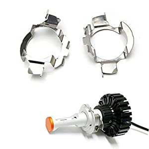 iJDMTOY (2) H7 LED Headlight Bulbs Adapters Holders Retainers For Audi BMW Mercedes-Benz Volkswagen etc (Low Beam)
