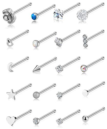 Tornito 20G 20Pcs Nose Ring CZ Nose Stud Retainer Bone Labret Nose Piercing Jewelry Set Stainless Steel Silver -