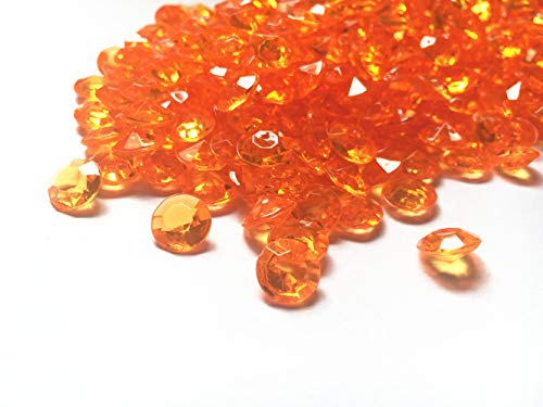 Briliant Shop 10mm Acrylic Color Faux Round Diamond Crystals Treasure Gems for Table Scatters, Vase Fillers, Event, Wedding, Arts & Crafts (1000 pcs) (Orange)