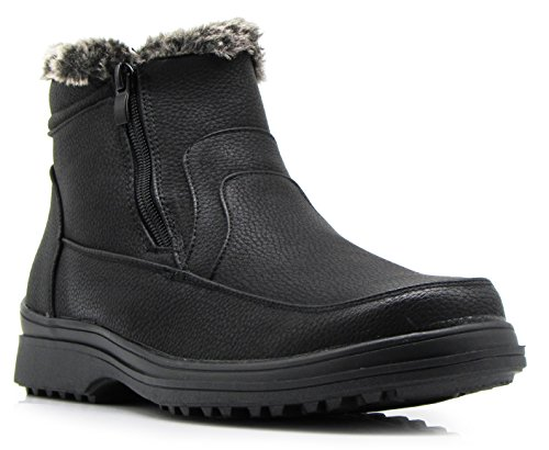 RU2N Men's Winter Cold Weather Snow Boots with Fur Fleece Lining Slip On Shoes (12 D(M) US)