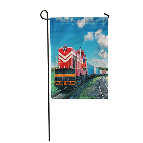 Semtomn Garden Flag 12x18 Inches Print On Two Side Polyester Cargo Freight Train Logistic Transport Railroad Rail Car Shipping Locomotive Home Yard Farm Fade Resistant Outdoor House Decor ()
