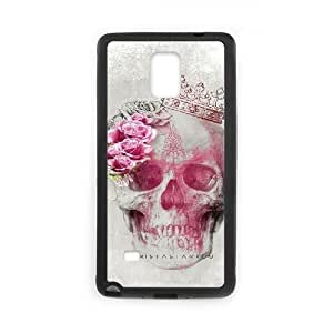 Customized Hard Back Case Cover for Samsung Galaxy Note 4 with Unique Design Beautiful flower skulls