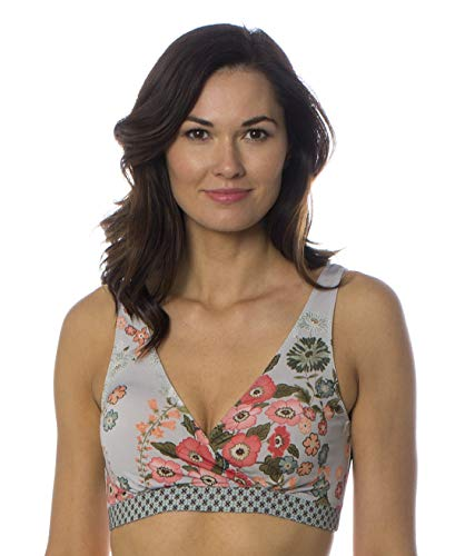 Majamas New Nursing Clothes - Majamas Padded Sporty Bra - ECO Friendly Women's Floral Printed Racerback Sports Bras with Pads - Made in The USA