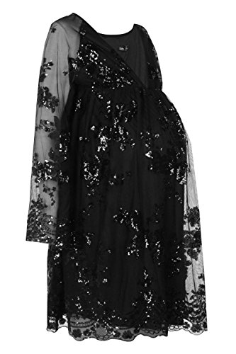 Charlotte Wrap (Boohoo Womens Maternity Charlotte Floral Sequin Wrap Skater Dress In Black Size)