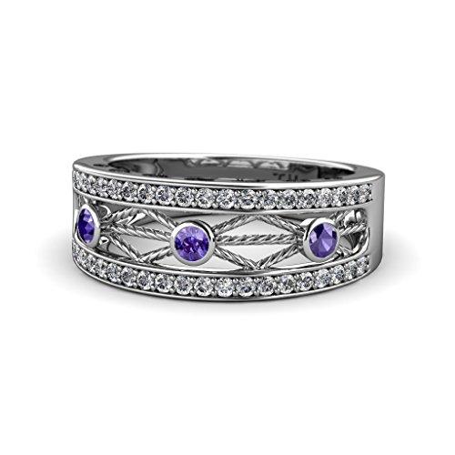Iolite & Diamond Filigree Wedding Band with Heart & Drop Design 0.43 Carat tw 14K White Gold.size 5.75