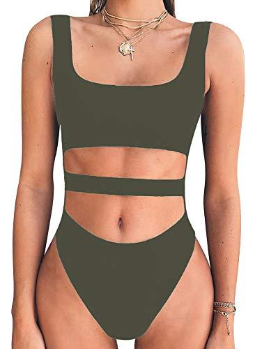 BEAGIMEG Women's Tank Top Cut Out Sleeveless Bodice Bodysuit Party Clubwear Olive -