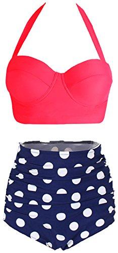 Amourri Womens Retro Vintage Polka Underwire High Waisted Swimsuit Bathing Suits Bikini,US 8-10=Tag Size (Back Clasp Sports Bra)