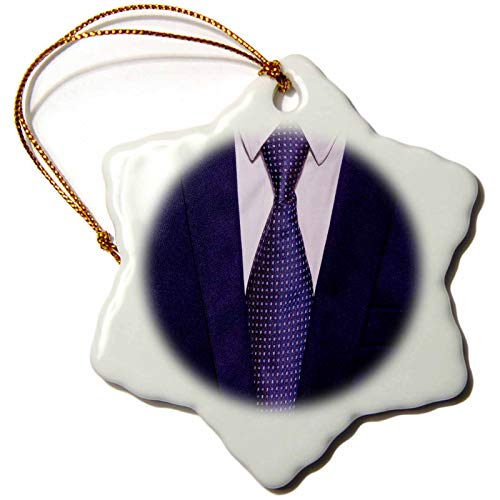 3dRose Lens Art by Florene - Dcor Three - Image of A Mans Jacket Tie and Dress Shirt - 3 inch Snowflake Porcelain Ornament (ORN_291479_1)