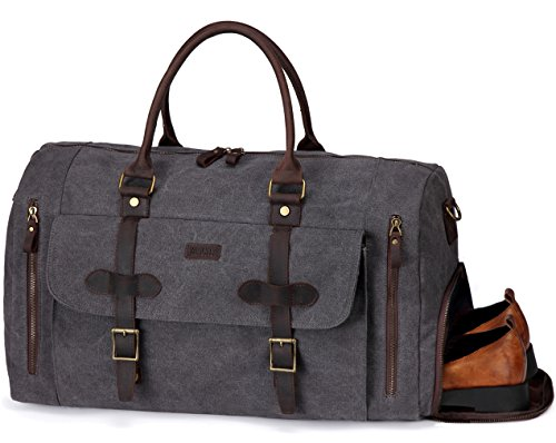 Large Duffel Bag,Vaschy Leather Canvas Duffle Tote with Shoe Compartment 46L Large Weekend Carry-on Holdall Baggage Sports Travel Bag Gray