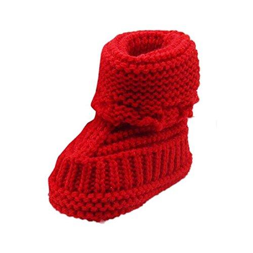 Vovotrade Weich und bequem Kleinkind neugeborene Baby-Knitting Lace Crochet Schuhe Buckle Handcrafted Schuhe (Rosa) Rot
