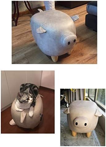 TAO Repose-pieds d'allocation des places de Leathaire de forme de cochon, banc de chaise 49 * 33 * 35cm de pouf de chaise d'enfants de pouf