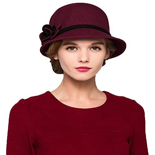 "Maitoseâ""¢ Women's Bow Wool Felt Bucket Hat Wine Red"