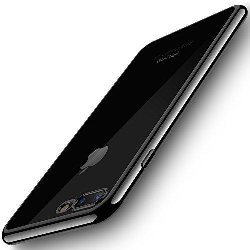 RANVOO iPhone 8 Plus Case, iPhone 7 Plus Case, Ultra Slim Thin Clear Soft Case with Premium Flexible Chrome Bumper and Transparent TPU Back Plate Gel Cover, iPhone 8 Plus / 7 Plus (Jet Black)