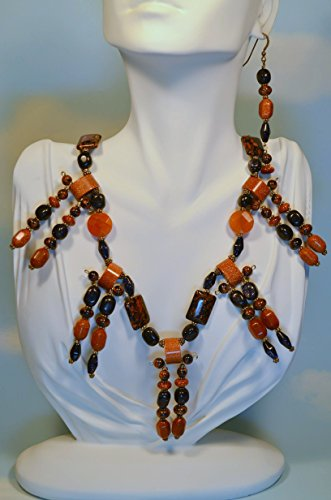 Wild Child Aventurine, Goldstone & Bluestone Necklace & Earring Set (Bluestone Necklace)