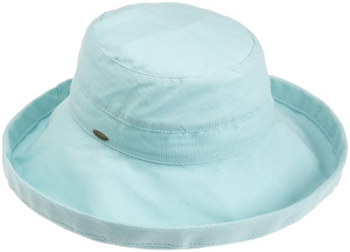 (Scala Women's Cotton Hat with Inner Drawstring and Upf 50+ Rating,Aqua,One Size)