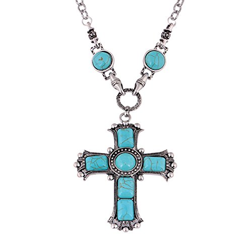 angel3292 Vintage Jesus Cross Artificial Turquoise Pendant Necklace Sweater Chain Jewelry - Date Turquoise Necklace