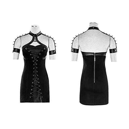 Hohe Typ Tight Kleid Frauen Punk Taille Niet en Gr Rock Neck Kleid Kurzarm 6 Gothic Hanging qwwTYB