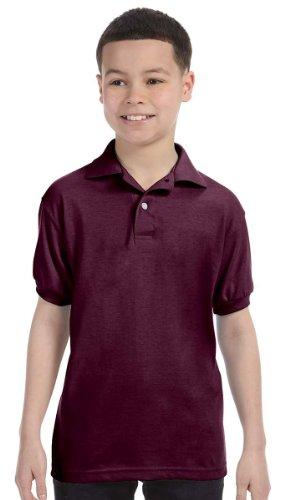 Hanes Kids' Cotton-Blend EcoSmart Jersey Polo, Maroon, Medium