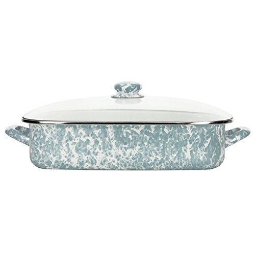 - Enamelware -Sea Glass Teal Swirl Pattern -16 x 12.5 x 4 Inch Lasagna Pan Set