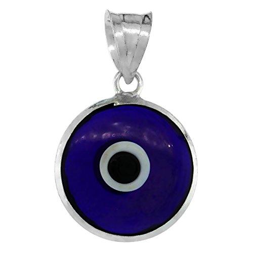 Sterling Silver Evil Eye Pendant 15 mm Glass Eyes Navy Blue Color Large Size ()