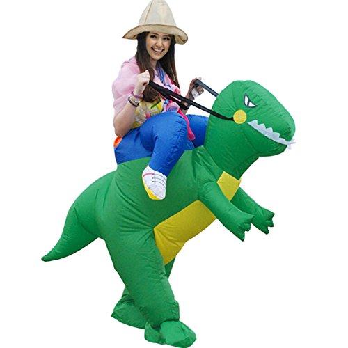Inflatable Dinosaur Costume Dance (Inflatable T-Rex Dinosaur Fancy Dress Unisex Party Costume Suit Dino Rider (Adult))