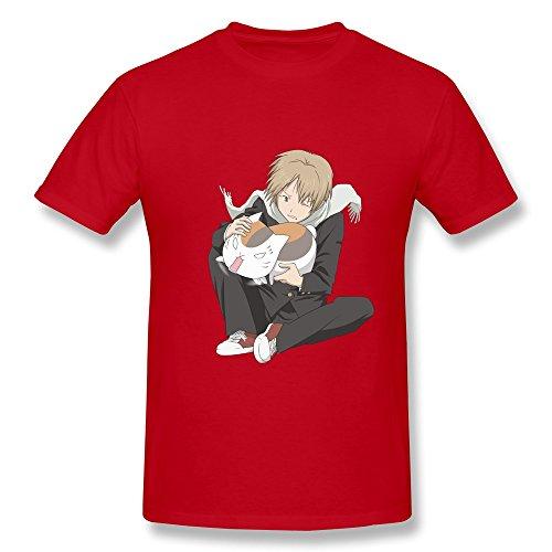 QDJT Men's Natsume Yuujinchou Takashi Nyanko T-shirt S