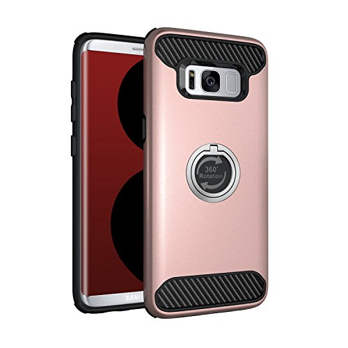 A Trading Galaxy S8 Plus Case, All-Round Protection with Free Rotating Metal Ring Holder Kickstand in TPU+PC+Carbon Fiber,for Samsung S8 Plus (Rose Gold)