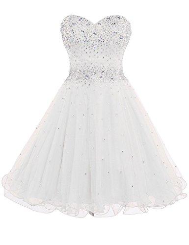 DianSheng Women's Short Tulle Beading Bridesmaid Dress Short Prom Gown White US14 Tulle Beading