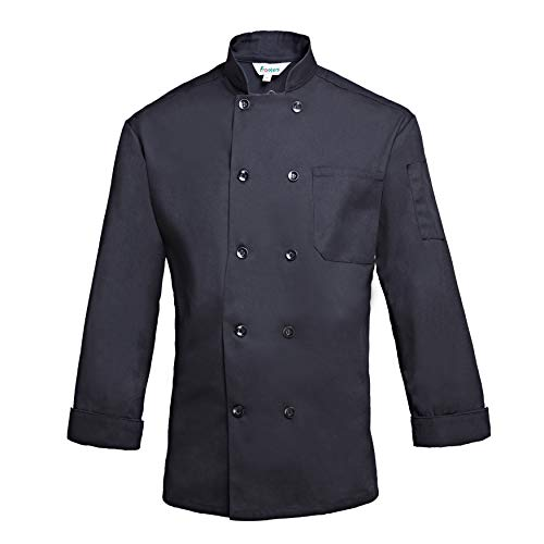 Frankers Men's Double Breasted Long Sleeve Ten Pearl Button Chef Coat, Black