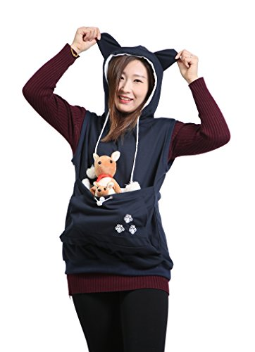 Sleeveless Hoodie Pet Holder Cat Dog Kangaroo Pouch Carriers Pullover Navy L