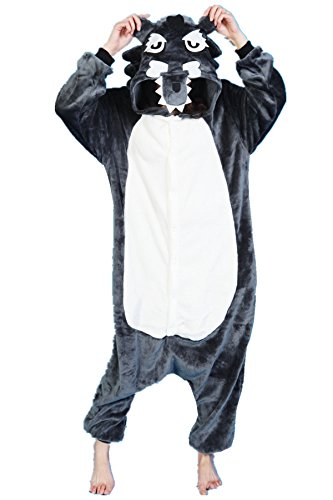 Couple Costume Wolf (Unisex Plush Animal Cosplay Kigurumi Pajamas Outfit Wolf Costume XL)