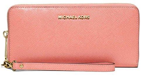 Michael Kors Jet Set Travel Leather Large Zip Continental Wallet (Peach)