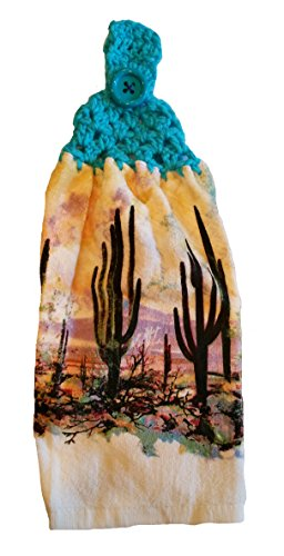 Designs from the Heart Handcrafted Turquoise Crochet Topped Cactus Sunset Theme Kitchen Towel
