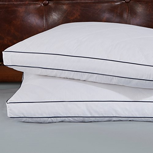 [Set of 2, Goose Feather And Down Gusset Pillows, Rhombic Quilted, 100% Cotton Cover, Standard/Queen Size] (Goose Down Feather Pillow Insert)